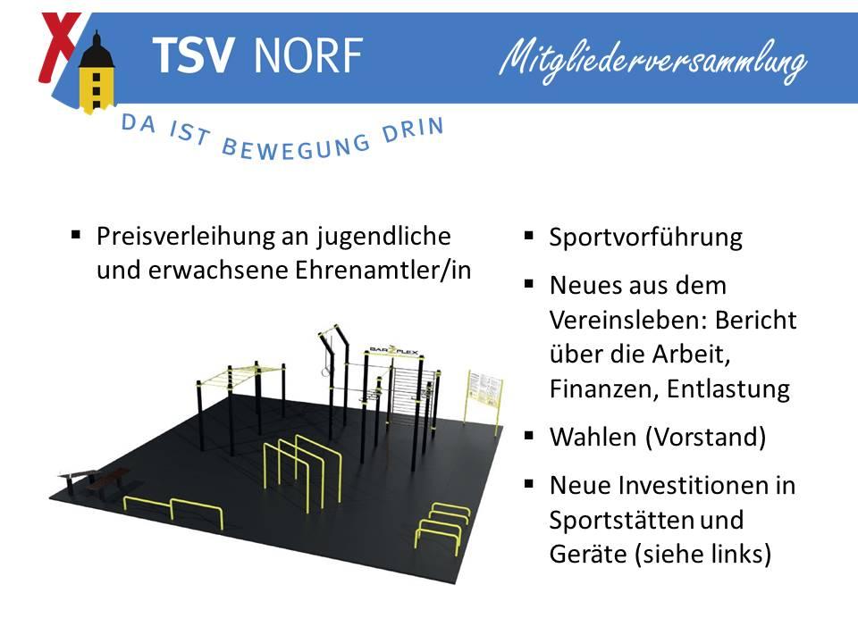 TSV Norf lädt zur Mitgliederversammlung